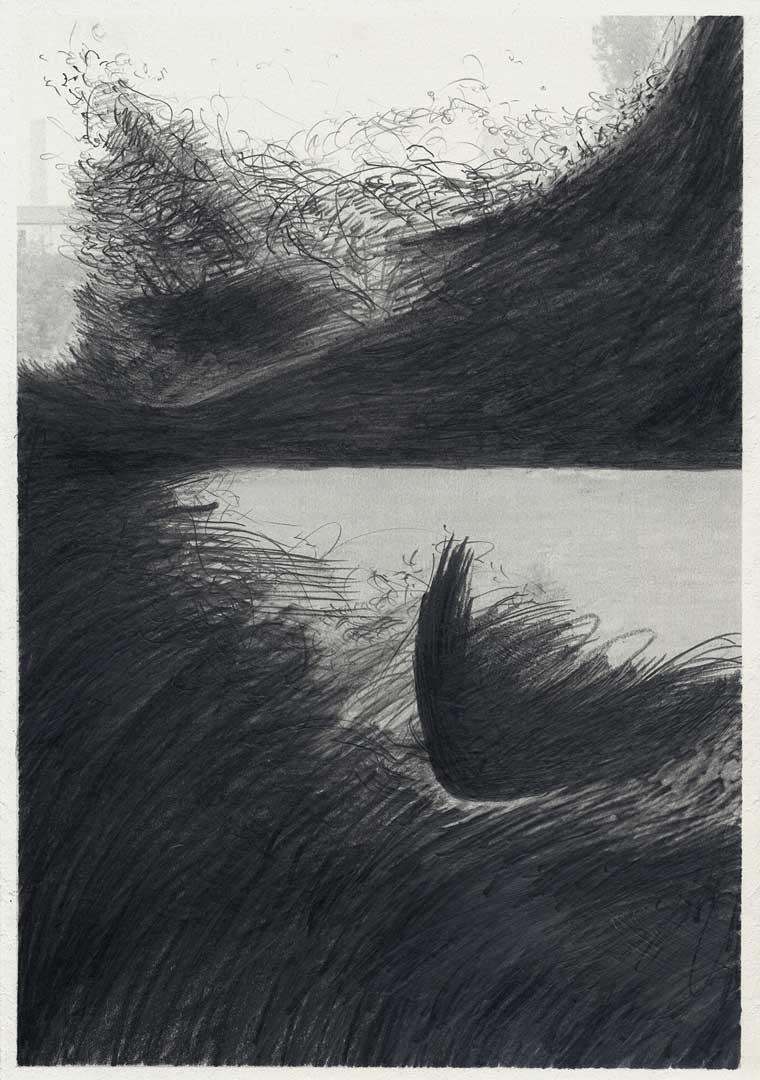 Untitled [Todesstreifen/ Schlesischer Busch] – 29,7 x 21 cm – Graphite drawing on photo-laserprint – 2015 – Inventory # 2015.P.FG.A4.V.0018